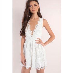 Tobi White Lace Plunge Neck Skater Dress